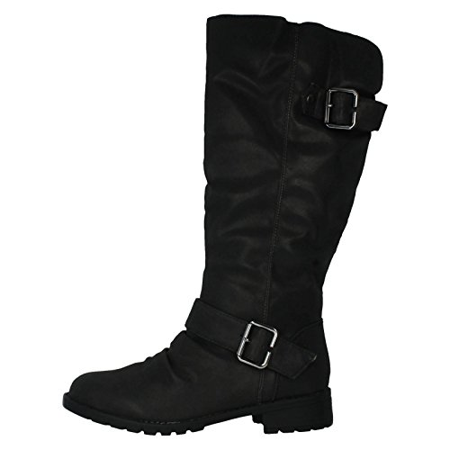 Length buckles Lining Textile Knee And Ladies Black Fashionable Boot With f5qwRxT8