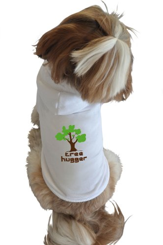 Ruff Ruff and Meow Dog Hoodie, Tree Hugger, White, Extra-Small