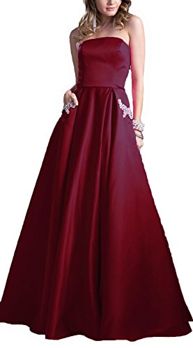 AngelaLove Homecoming Dresses Short Strapless Satin Party Prom Dress with Beaded Pocket Bridesmaid Evening (Red Satin Strapless Dress)