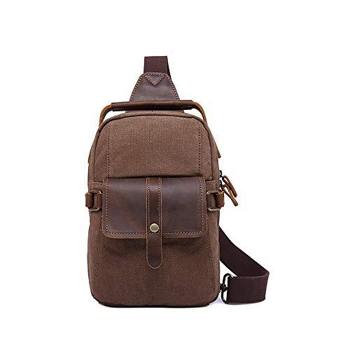 HHF Bags & Handbag Hiking Travel Bag Waterproof Canvas Bag Mens Small Vintage Canvas Shoulder Bag School Laptop Bag (Color : Brown, Size : One Size)