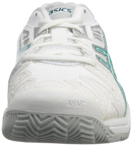 Asics Damesgel-resolutie 5 Clay Court Tennisschoen Wit / Aqua Green / Lightning