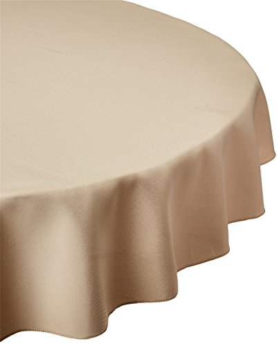 LinenTablecloth 70-Inch Round Polyester Tablecloth Beige by LinenTablecloth