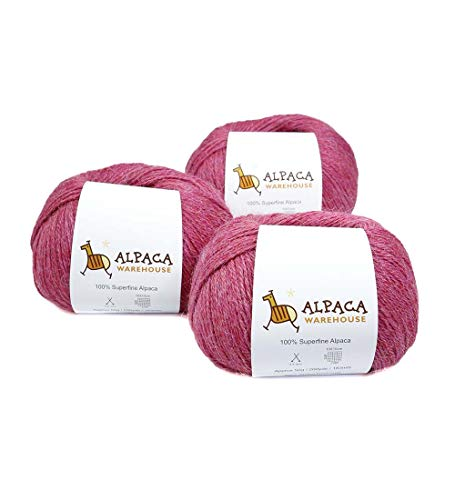 (100% Alpaca Yarn Wool Set of 3 Skeins Fingering Weight (Bubblegum Rose))