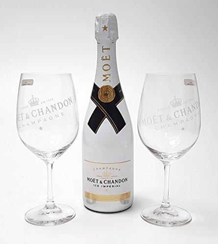 Moet & Chandon Ice Imperial Set - Champagner 75cl (12% Vol) + 2x Gläser