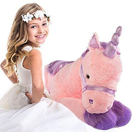 "9f077e42226 Glitzy 39"" Jumbo Plush Pink Unicorn Giant Stuffed Animal Toy with Big  Fluffy Purple Fur"
