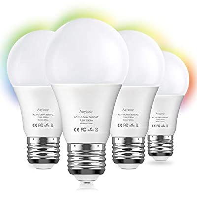 LED Light Bulbs, Aoycocr Smart WiFi Light Bulb A19 Dimmable Bulb Work with Alexa, Echo, Google Home and IFTTT, No Hub Required, 75W Equivalent,RGB Multicolor Bulb, UL Listed,4 Pack