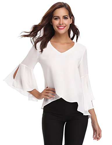 Abollria Women 3/4 Bell Sleeve Solid Chiffon Tunic Blouse Shirt