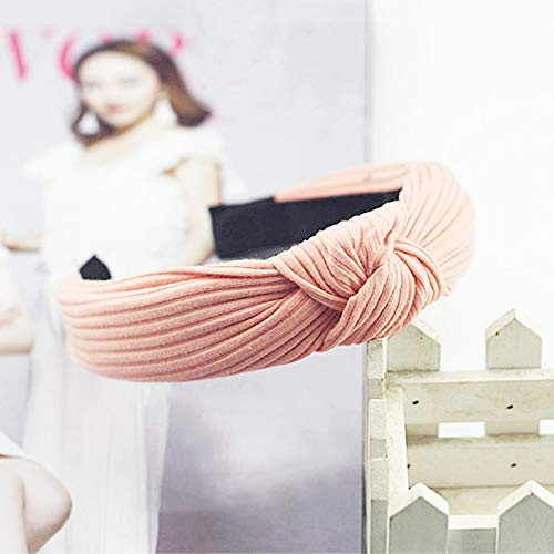 (Knot Cross Tie Solid 1 Pc Fashion Band Hairband Knitted Rib Girls Bow Hoop Hair Accessories Velvet Twist Headband Pink)
