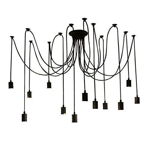 Lightess Vintage Multiple Adjustable DIY Ceiling Spider Pendant Lighting Chandelier (12 Heads) - 240 Dining Set