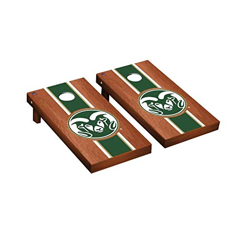 - Victory Tailgate Regulation Collegiate NCAA Rosewood Stained Stripe Series Cornhole Board Set - 2 Boards, 8 Bags - Colorado State Rams