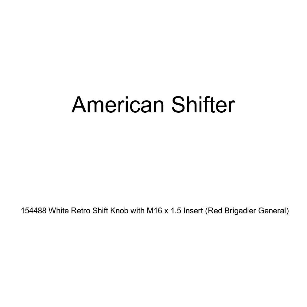American Shifter 154488 White Retro Shift Knob with M16 x 1.5 Insert Red Brigadier General