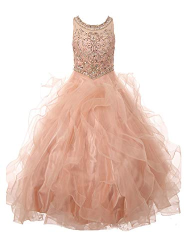 Big Girls Blush Ocean Waves Rhinestone Scoop Neck Pageant Dress 14 Light Pink