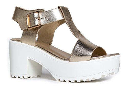 J. Adams Corby Platform Sandal - Low Heel T-Strap Open Toe Flatform Ankle Strap