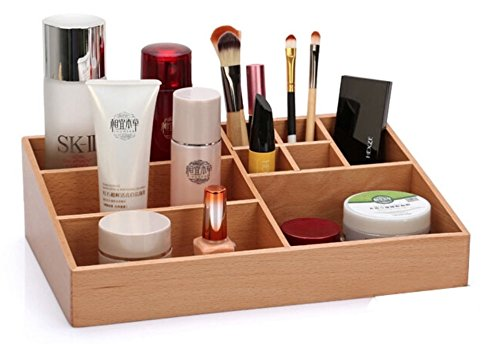 SLK Wood Products Multifunctional Wooden Box, Cosmetic Box, Storage Box