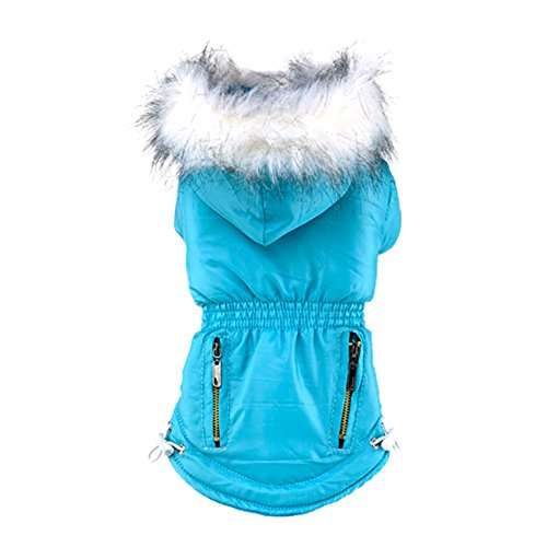 Faux Dog Suede Coat (Homedeco Pet Small Cat Dog Faux Suede Fleece Hoodies Thick Zipper Jacket Clothes Windproof Cold Weather Coats B)