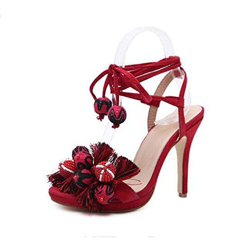 Beauty Women's de Splice 2018 Fine Multicolor Sandals Tassel Hollow Red baile Heels Zapatos YWNC Nuevo Parties High OpR8wR