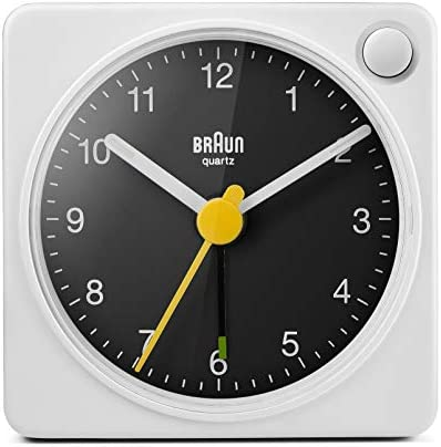 Braun Classic Travel Analogue Alarm Clock with Snooze and Light, Compact Size, Quiet Quartz Movement, Crescendo Beep Alarm in White and Black, Model BC02XWB.