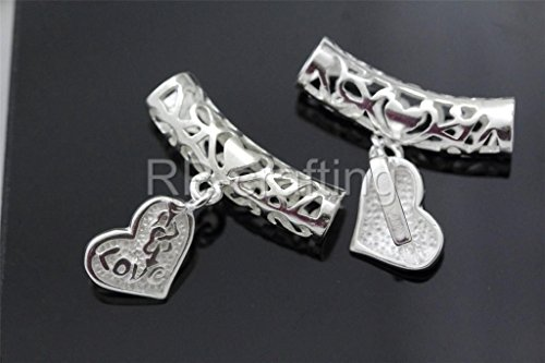 10pcs Tube Spacer 27x7mm Heart-Shaped Pendant Bail Sterling Silver Plated - Seven Amethyst Oval Bracelet
