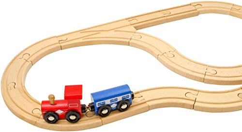 Amazon Com Play22 Wooden Train Tracks 52 Pcs Wooden Train Set 2