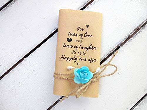 For your happy tears, Wedding hankerchief, Tears of joy packs, 30 pack, wedding favors for guests, Wedding -