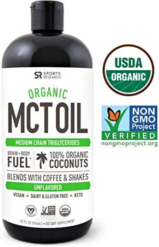 Organic MCT Oil derived from ONLY Coconut- 32oz   Great in Keto Coffee,Tea, Smoothies & Salad Dressings   Non-GMO Project Veified & Vegan Certified (Unflavored)