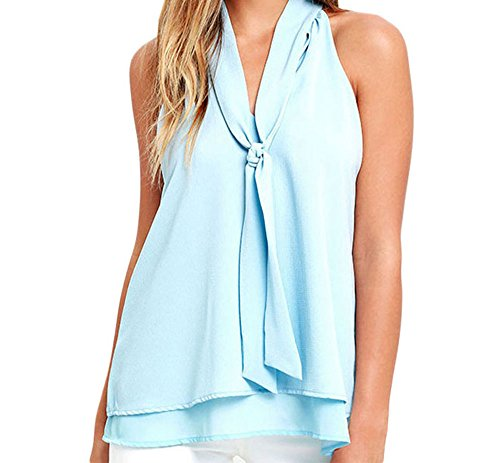 YeeATZ Double Cascading Ruffle Neck Tie Sleeveless Top(LightBlue,XL) (Silicon Mix Wholesale compare prices)