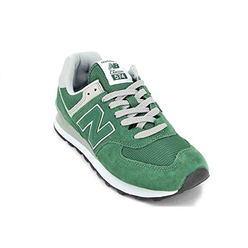 - New Balance Mens ML574 Green Suede Mesh Trainers 8.5 US