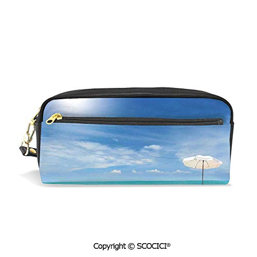 Girls Boys 3D Printed PU Pencil Case Holders Bag with Zipper Secluded Tropical Island Beach with Chairs and Umbrella Ocean Sand Seascape Photo Stationery Makeup Cosmetic Bags Back to - Chair Ocean Leather