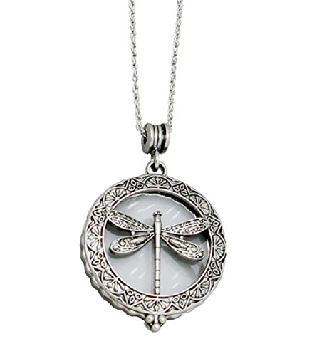 Redwood Open Work Antiqued Embossed Silver-Tone Dragonfly Magnifying Glass Pendant Necklace, 30
