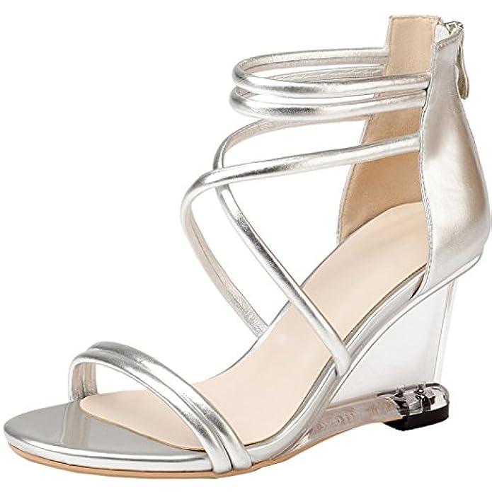 Calaier Donna Salbk 8cm Zeppa Cerniera Sandali Calzature
