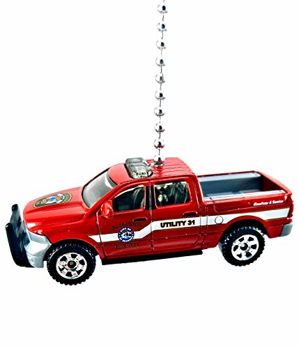 Police, Fire & Rescue, Emergency, Cars, Trucks, Boats, Planes, Diecast Ceiling Fan Light Pulls, Christmas Ornaments, Pendants, Keychains 1:64 (2015 Dodge Ram 1500 Fire - Red) (7 Ram Lighting Pendant)