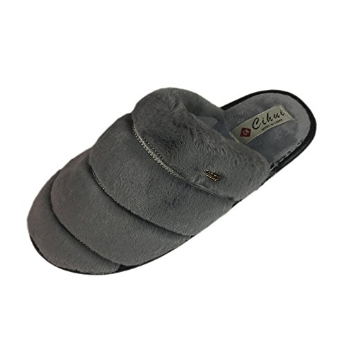 LINGMIN Plush Softness Terrycloth Comfort Nonslip Cozy House Super Fur Unisex Lightweight Gray Slippers Slip on r5Zrxwq