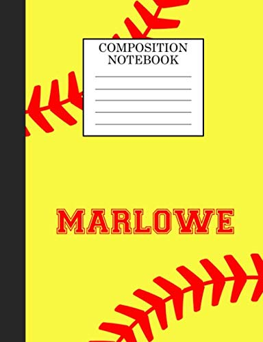 Marlowe Composition Notebook: Softball Composition Notebook Wide Ruled Paper for Girls Teens Journal for School Supplies | 110 pages 7.44x9.269 por Sarah Blast