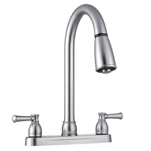 Dura Faucet (DF-PK350L-SN) Non-Metallic Dual Lever Pull-Down RV Kitchen Faucet - Replacement Faucet for Motorhomes, 5th Wheel, Trailer, Camper (Brushed Satin Nickel)