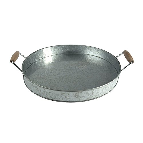 Benzara AMC0002 Round Galvanized Metal Serving Tray with Wooden Handles, Gray (Metal Tray Round)