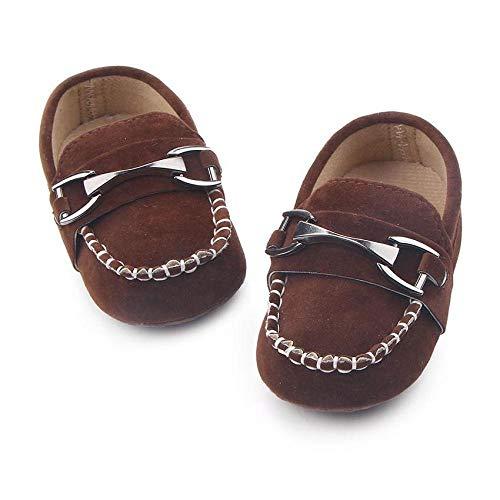 FidgetFidget First Walkers Kid Handsome Metal Hasp Shoes Crib Soft Loafers for Newborn Baby Boy Brown0-6 Months