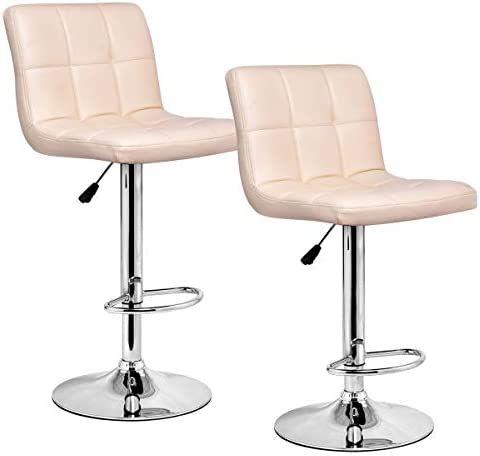 WATERJOY Barstools, Set of 2 Modern Square PU Leather Adjustable Height Swivel Bar Stools Pub Chairs with Backrest