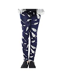 Weixinbuy 2-14 Years Girls Flower Feather Printed Comfy Leggings Pants