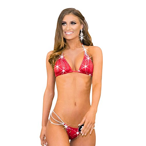 Barely Visible Swimwear Red Rhinestone Bikini Competition Suit NPC Bikini Competition Bikinis (Xtra Small Hips 28