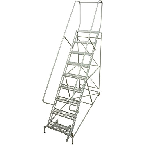 Steel Rolling Ladder - Cotterman Rolling Steel Ladder - 450-Lb. Capacity, 9-Step Ladder, 24in.L x 10in.W x 90in.H Platform, Model# D046009505