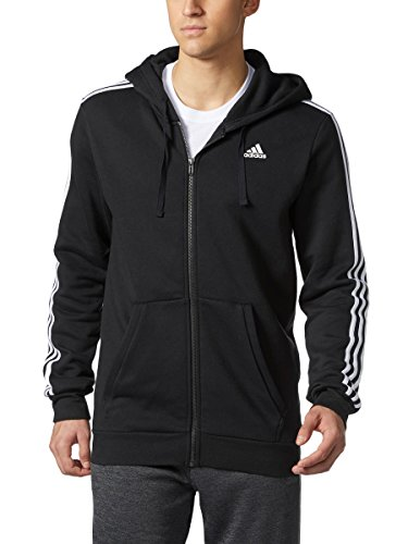 - Adidas Men's Essential Cotton 3 Stripe Full-Zip Hoodie - Big & Tall, Black/White, 2XLarge-Tall