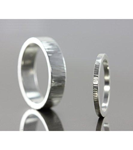 Hammer Textured Matching Ring Set - Sterling Silver, 14k Yellow Gold, 14k Rose Gold, 14k Palladium White Gold, 950 Palladium, Platinum - Hammered Men's & Women's Wedding Band, Promise Ring
