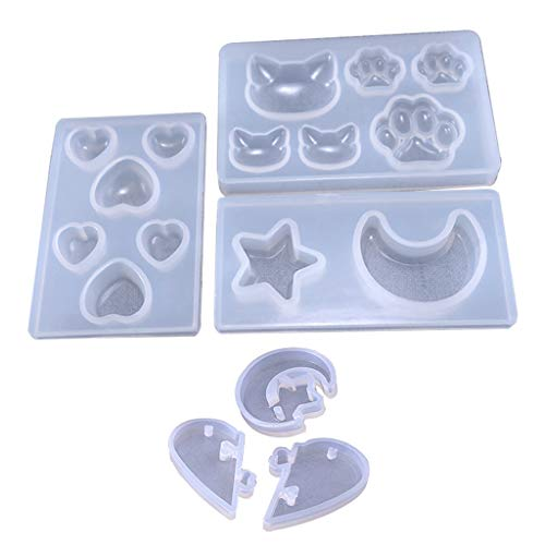 (Danyerst 5 Pcs Star Moon Cat Footprint Love Heart Jewelry Silicone Mold with Hole for Polymer Clay, Resin Epoxy, Pendant Earrings Making, DIY Mobile Phone Decoration)