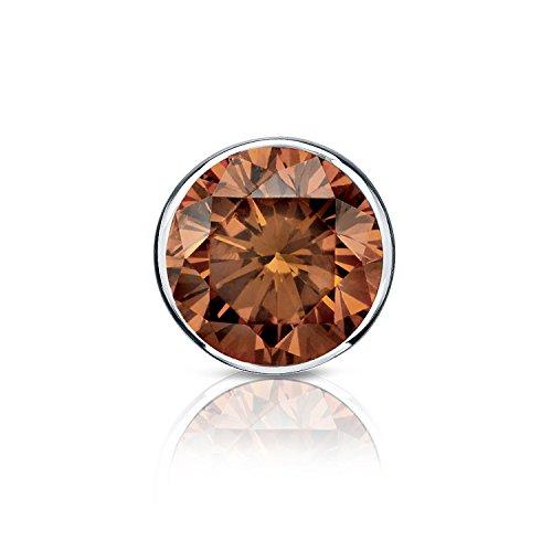 14k White Gold Bezel Round Brown Diamond SINGLE STUD Earring (1/8 cttw, Brown, SI1-SI2) screw back