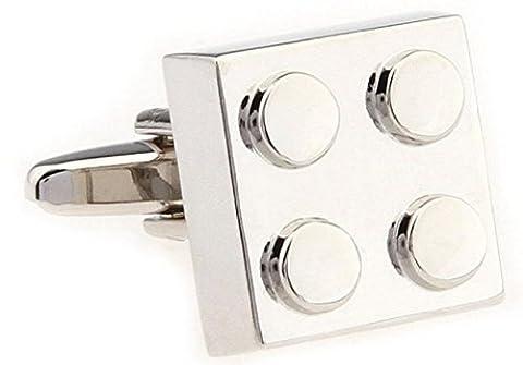 MRCUFF Chrome Building Block Pair Cufflinks in a Presentation Gift Box & Polishing Cloth (chrome) - Chrome Hard Rocker