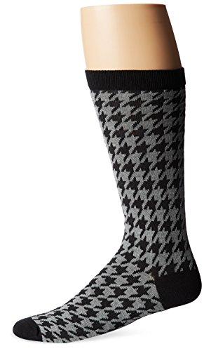 Ozone Men's Houndstooth Sock, Black, Sock Size:10-13/Shoe Size: 6-12