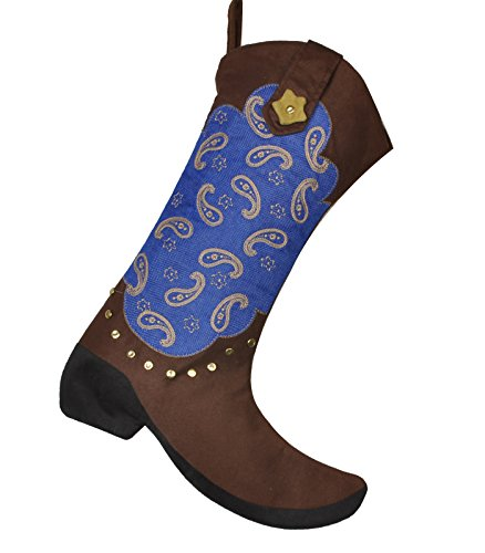 AIJIAO 18'' Western Cowboy Boot Christmas Stocking Gift Kids Fireplace Decor with Embroidered Patern 1pcs by AIJIAO