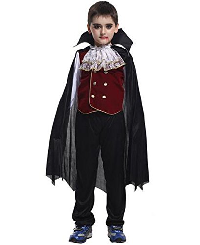 Hotgirldress Boys Halloween Clothing Children's Masked Vampire count Costumes (X-Large(Recommended height: 51.2in-55.1in), Vampire Dress Up)