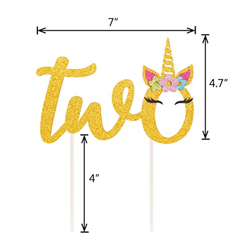 Unicorn 2nd Birthday Cake Topper Magical Decoration Theme Party Supplies