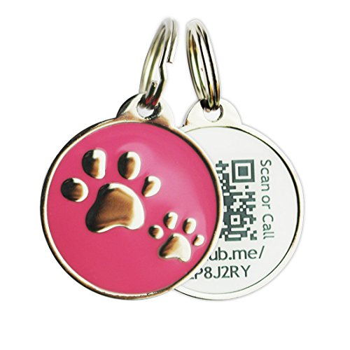 PINMEI Zine Alloy Scannable QR Code Pet Dog Cat ID Tag, Powered by PetHub (Pink)
